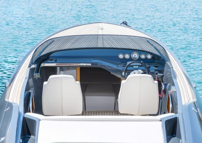 Cockpit of bue silver luxury power boat