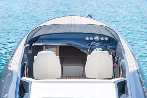 Cockpit of bue silver luxury power boat