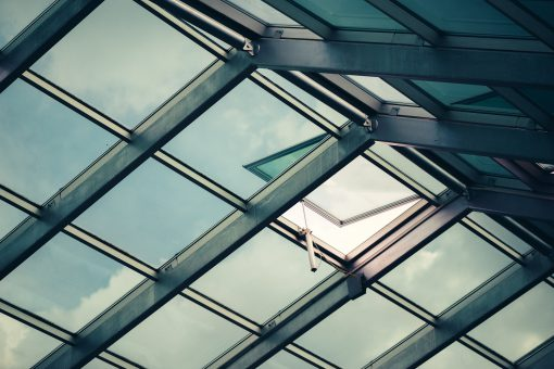 Glass skylight roof with open window
